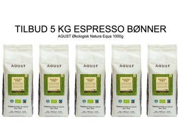 Kaffeboenner espresso Agust natura fairtraide 5 kg CoffeeShoppen 360x270 - Hele kaffebønner gør smagen meget kraftigere