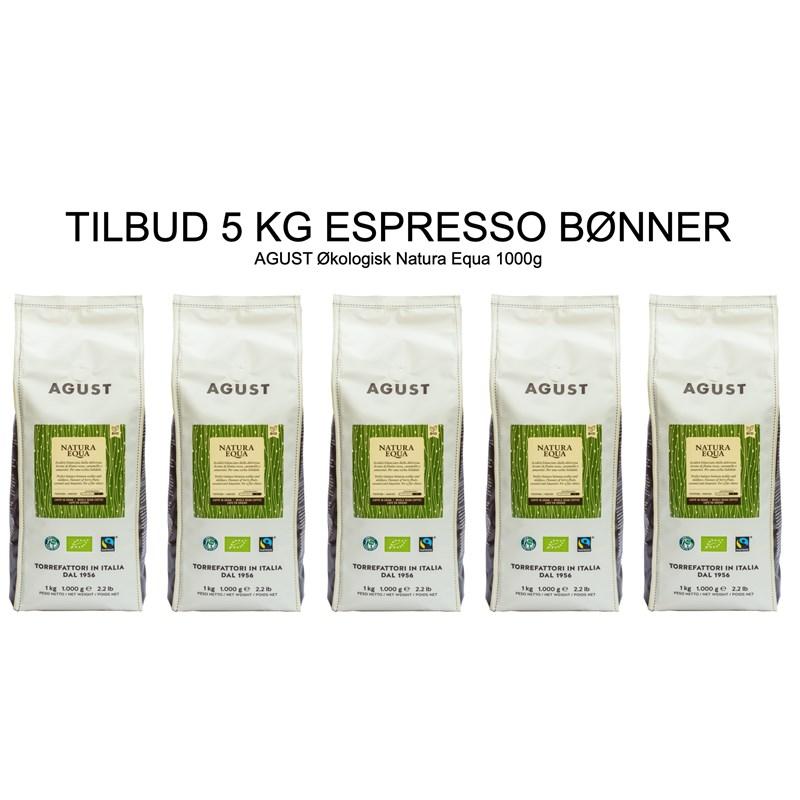 Kaffeboenner espresso Agust natura fairtraide 5 kg CoffeeShoppen - Hele kaffebønner gør smagen meget kraftigere
